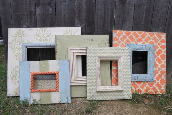 Beach Shabby Chic Wall Grouping Gallery SET of Distressed Handmade and Hand Painted Picture Frames (5)