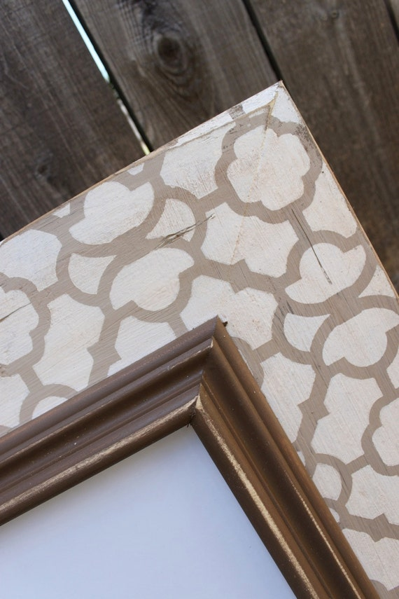 11x14 Moroccan Distressed Wood Picture Frame Taupes and Cream with Chocolate Colonial Trim