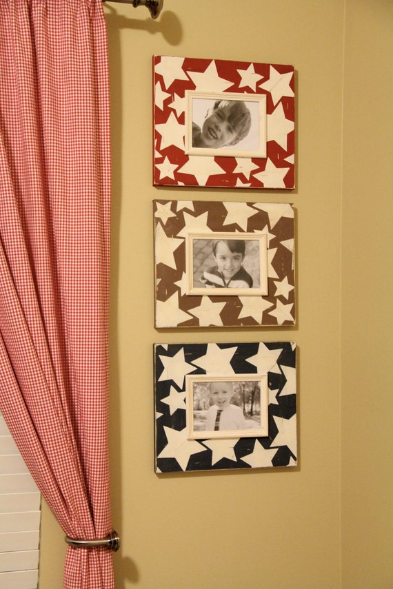 Stars Distressed Picture Frame Set of 3-5x7 Grouping Red/Navy/Chocolate