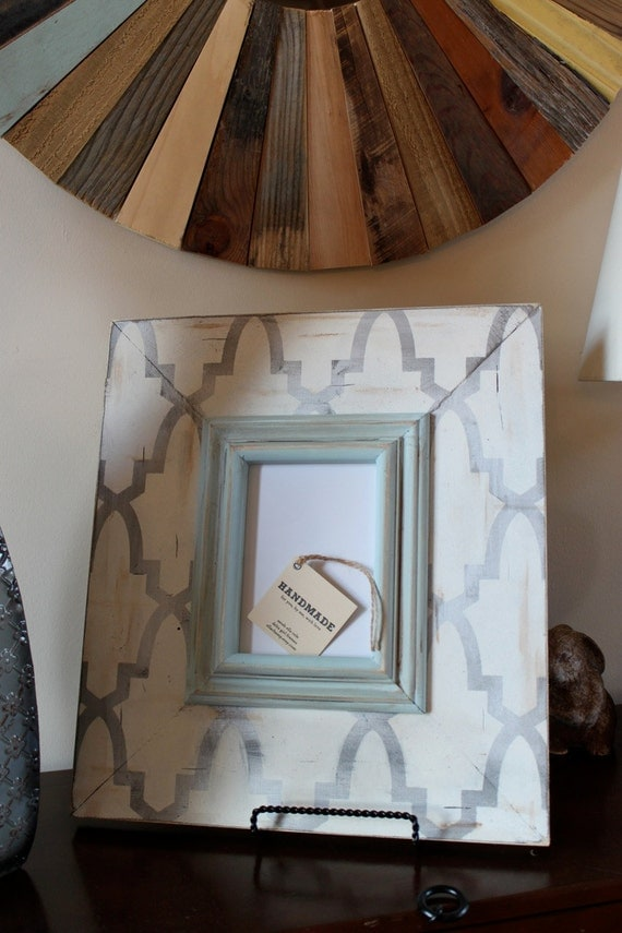 Distressed Trellis 5x7 Wood Frame Silver with Vintage White and Robins Egg Colonial Trim
