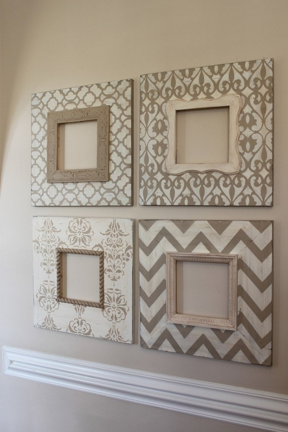 Custom listing: Set of 4-8x8 Distressed Wood Picture Frames in Vintage Neutrals