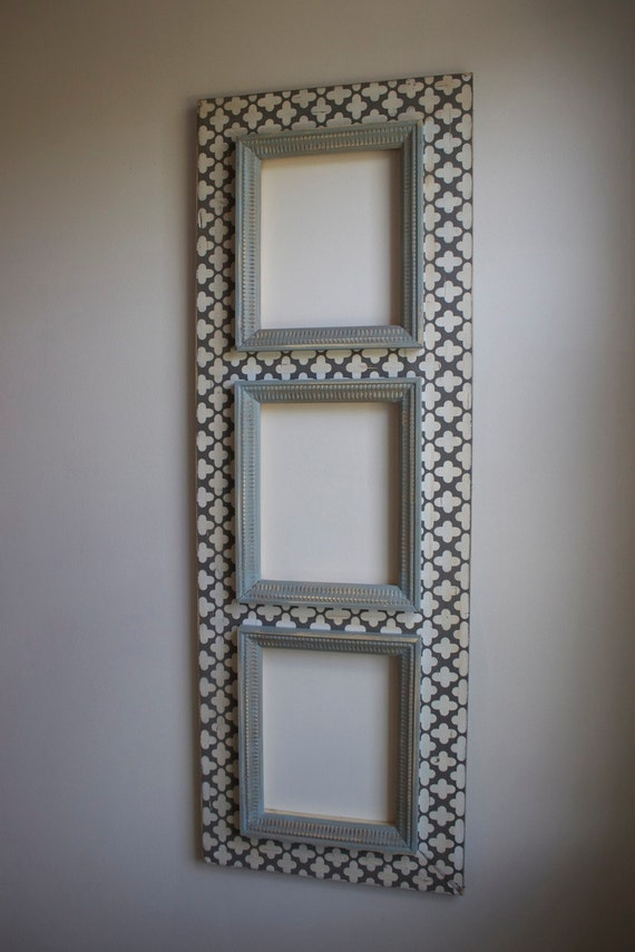3 Multi Opening Distressed Picture Frame 12 days SALE  Man Cave Grey with Blue Meditative Trims