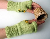 Light Green Fingerless Gloves Hand Knitted   arm warmers sale now 15
