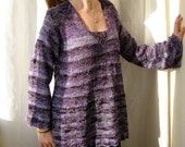 Purple Handknitted wool and  acrylic women sweater size M/L