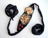 Recycled fabric Black Dress or pants Belt Flower with Bright Center Flower shabby cotton fabric flowers