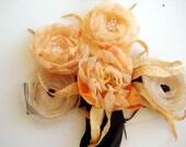 Black Ribbon Orange Tones Flowers Sash Belt wedding set with a pair  popy hair pins