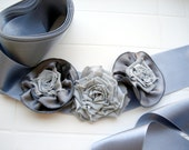 Grey Wedding Sash Belt  Handmade shabby chic Roses Fashion Satin Floral accessories
