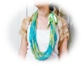 Handmade sea green crochet infinity scarf  with lime ribbon bow