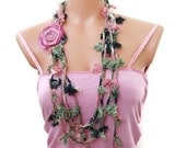 Crochet Green floral Lariat Scarf long skiny fluffies