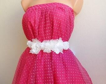 Wedding Flower Girl Headband Ribbon Sash Belt for girls, White floral wedding belt