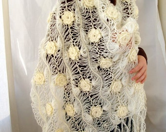 Cream Bridal Lacy Shawl Floral Wrap Romantic Body Warmer Large Shawl, Warm Bride Shawl