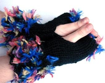 Fluffy Boho Handmade Knitting  Black Fingerless Gloves, Hand Knit  Mittens size M