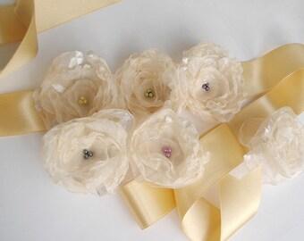 Ivory Bridal sash belt Flower Sash with Three free Flowers for brooch hairpin head flower  Wedding Dress ornamet set