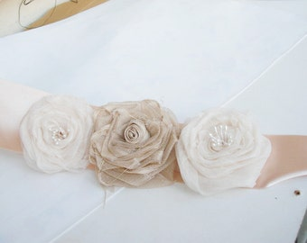 Flower Sash Wedding Accessory Ecru, beige,Cream chic Floral Sash belts