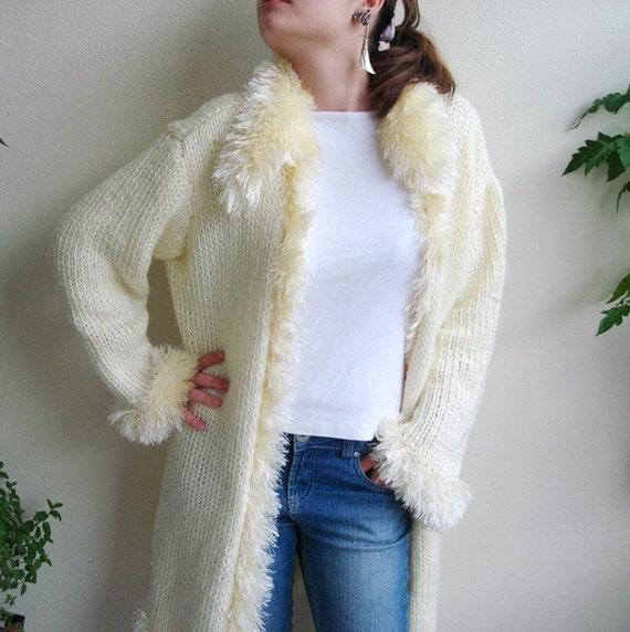 Handknitted Cream Furry Coat Long Jacket wearing a fur cardigan  Sale 40% off