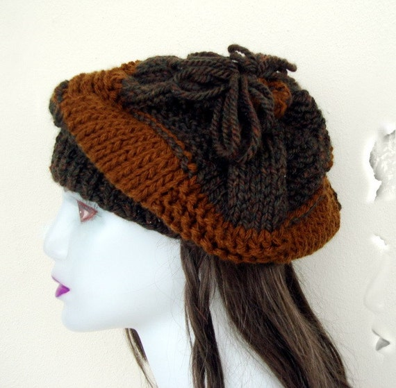 Hand knitted two tones warm Winter Slouchy Beret