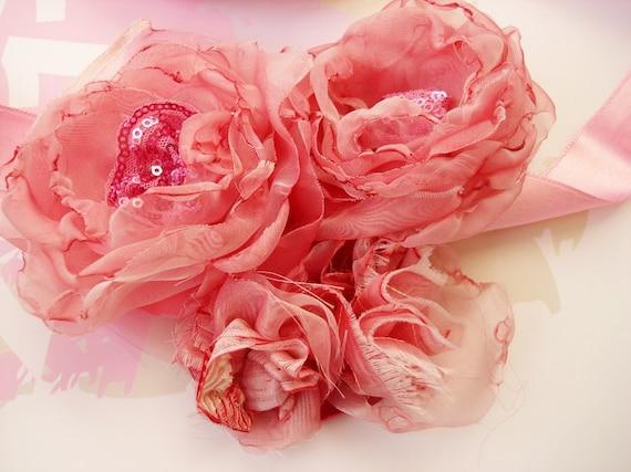 Organza Flower Pink Ribbon Fabric  Rose Flowergirl or Bridesmaid  Wedding Sash Belt for pink wedding dress