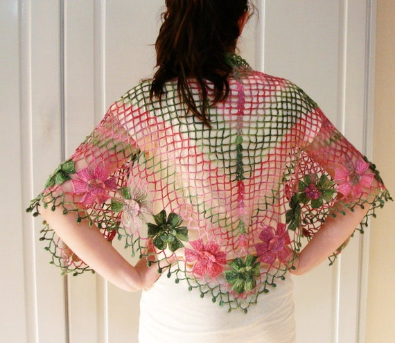 50 % sale off Pink Green Floral Shawl Flower Shiny Triangle Women Scarf Ready to Shipp