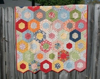 Quilts for Sale / Custom Quilts / Baby Quilts /  Hexagon Quilts /Gender Neutral Quilt / Crib Bedding / Baby Shower / Nursery / Made to Order