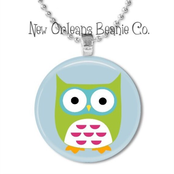 Cute Owl Button Pendant -  Your choice of ribbon necklace, rubber necklace or ball chain