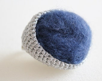 Crochet and felt brooch with silver thread and marine-blue wool
