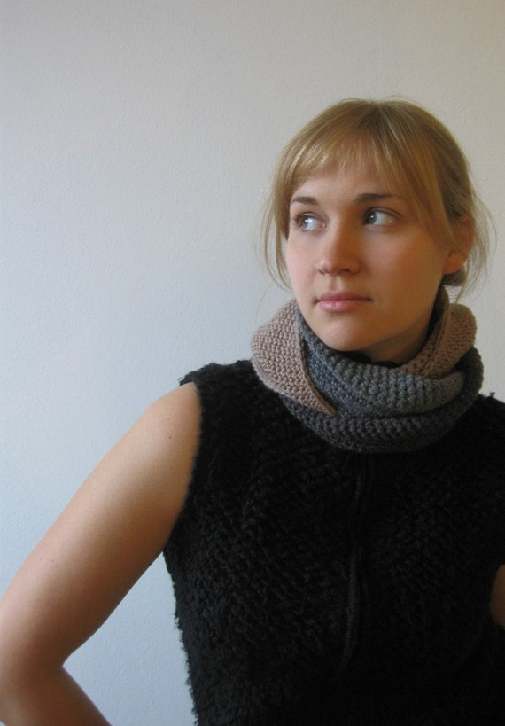 Reserved - Crocheted Chain-Tube Neck Warmer in Beige, Dust and Anthracite