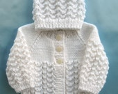 Baby Sweater Hand Knit White Set Preemie Girl Boy Premie Premature Newborn Infant Handmade Knitted