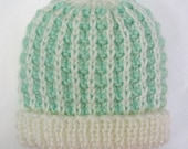 Newborn Hospital Hat Hand Knit Baby Hat Baby Beanie Cap Knitted Infant Boy Girl Soft Mint Green