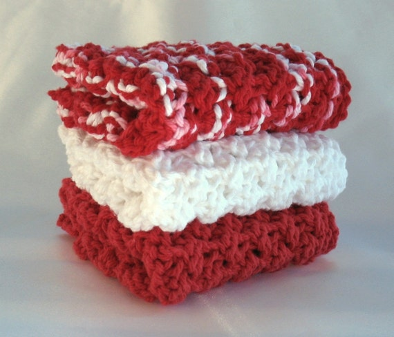 Knitted Dishcloth Cotton Red White Kitchen Knit Dish Cloth Christmas Peppermint Candy Cane