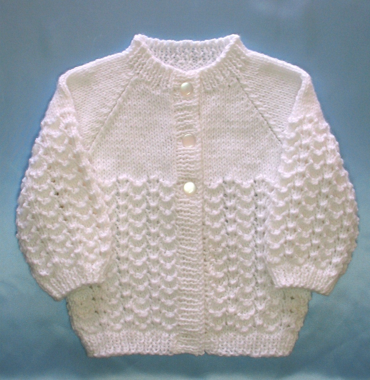 Hand Knit Baby Sweater Set White