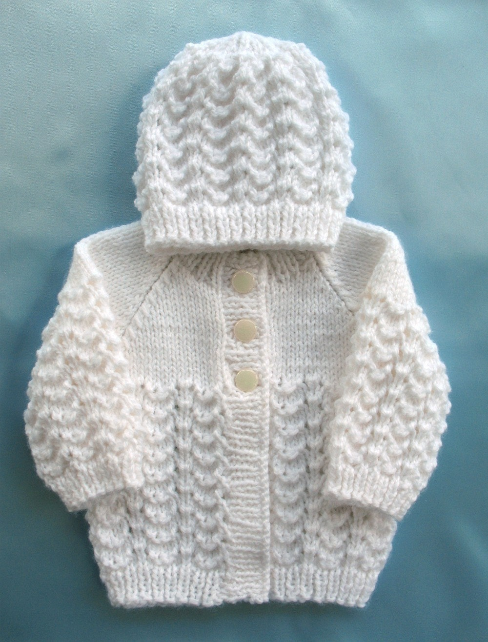 Baby Sweater Hand Knit White Set Preemie Girl Boy Premie