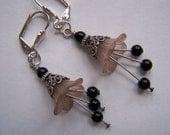 Taupe Brown Flower Drop Earrings