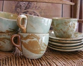Set of 5 Vintage Demitasse Cups and Saucers - Green Brown Swirl Glaze