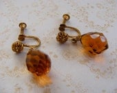 Amber Gold Crystal Drop Earrings, Vintage twist back