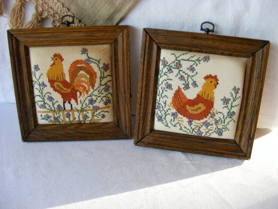 Vintage Rooster Chicken Cross Stitch, Primitive Country Farm Home Decor