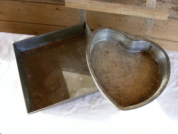 Primitive Tin Baking Pans, Vintage Heart and Square