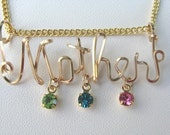 Gold or Silver MOTHER'S NECKLACE with 3 or 4 Children's Birthstones