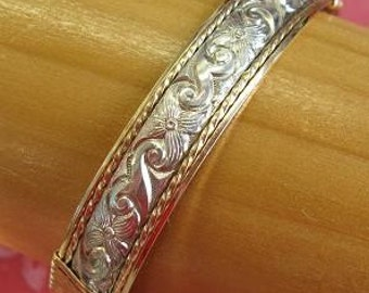 Gold & Sterling Silver Patterned Wire Bracelet