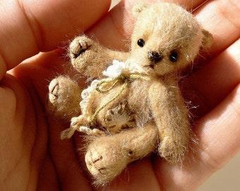 Miniature teddy bear PATTERN, mini toy PDF pattern, micro teddy bear digital pattern, diy stuffed miniature toy, antique style teddy diy