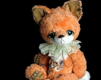 Artist bear fox cub digital PDF PATTERN, sewing pattern for stuffed animal, cute soft toy diy, how to make a fox, how to sew soft toy fox