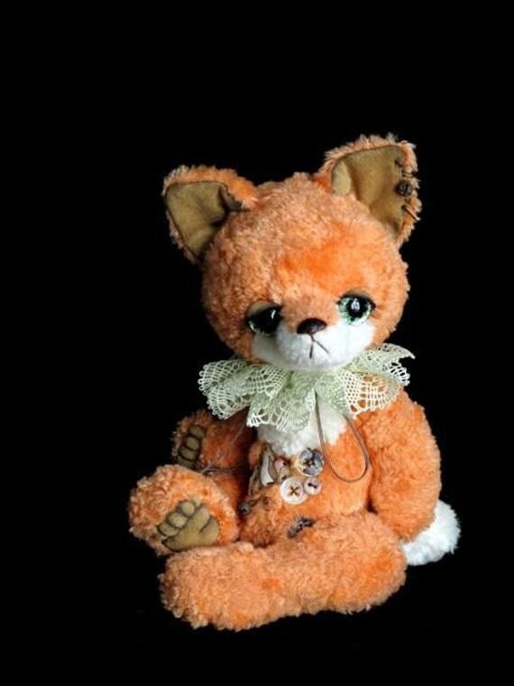 Artist bear fox cub digital PDF PATTERN, sewing pattern for stuffed animal, cute soft toy diy, how to make a fox, how to sew soft toy fox