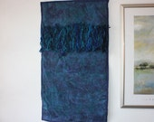 Beaded Fiber Art Wall Hanging - Exude Blue