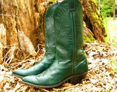 Vintage PIXIE COWGIRL Size 7.5 Forest Green Cowboy Boots Code West Brand