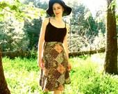 SALE 70s PAISLEY EXPRESS Folk Patchwork Wrap Skirt