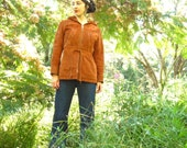 60s Boho Hippie Chic Brown Suede Leather Jacket With Hood SAN FRANCISCO NIGHTS