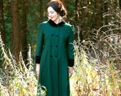Vintage Forest Green Wool Full Length Coat HALF PAST SIX
