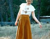 Corduroy Skirt... 70s/80s Midi Skirt... GOLDEN LEAVES (xs)