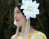 Art Nouveau Inspired Headpiece... White Floral Head Piece... SNOW IN SUMMER