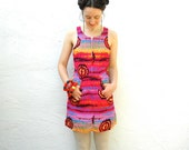Upcycled OOAK Dress... Neon Dress... Spring Dress... FRACTALS (xs)