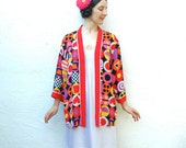 Bob Mackie Jacket.... 100% Silk.... 1980s Vintage Kimono Jacket.... WEARABLE ART (one size)